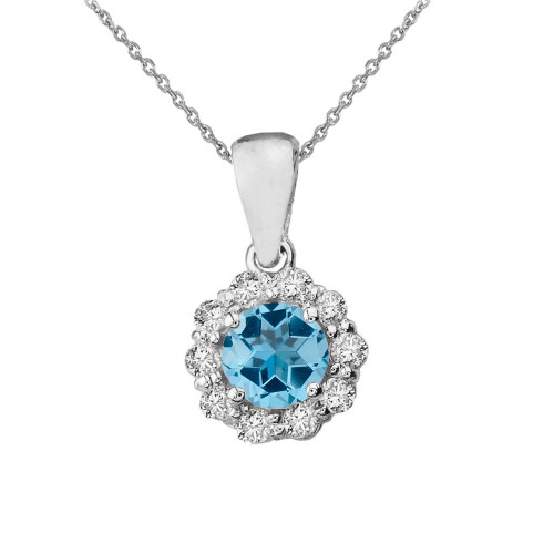 14k White Gold Dainty Floral Diamond Center Stone Blue Topaz Pendant Necklace