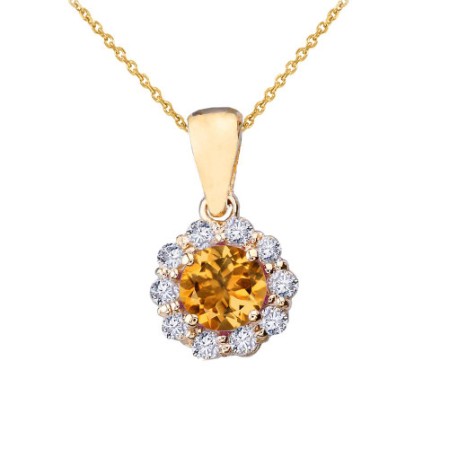 14k Yellow Gold Dainty Floral Diamond Center Stone Citrine Pendant Necklace