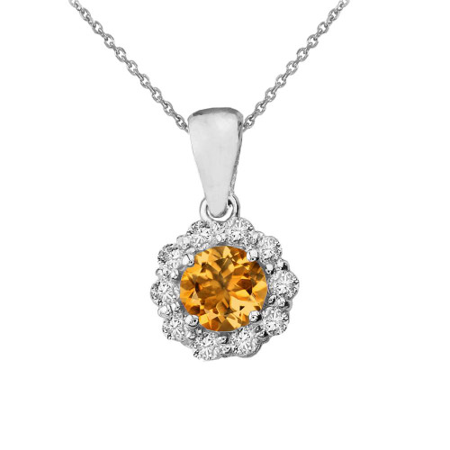 14k White Gold Dainty Floral Diamond Center Stone Citrine Pendant Necklace