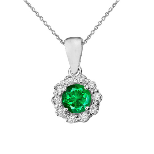 14k White Gold Dainty Floral Diamond Center Stone Emerald Pendant Necklace