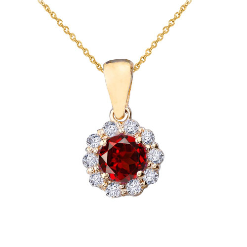 14k Yellow Gold Dainty Floral Diamond Center Stone Garnet Pendant Necklace