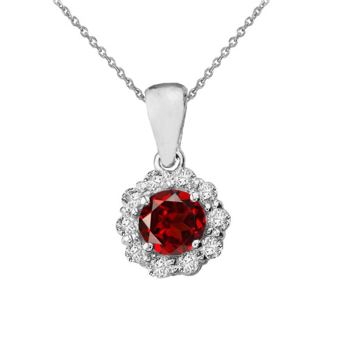 14k White Gold Dainty Floral Diamond Center Stone Garnet Pendant Necklace