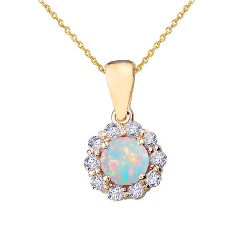 14k Yellow Gold Dainty Floral Diamond Center Stone Opal Pendant Necklace