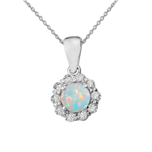 14k White Gold Dainty Floral Diamond Center Stone Opal Pendant Necklace