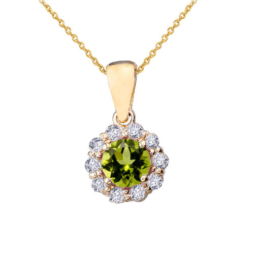 14k Yellow Gold Dainty Floral Diamond Center Stone Peridot Pendant Necklace