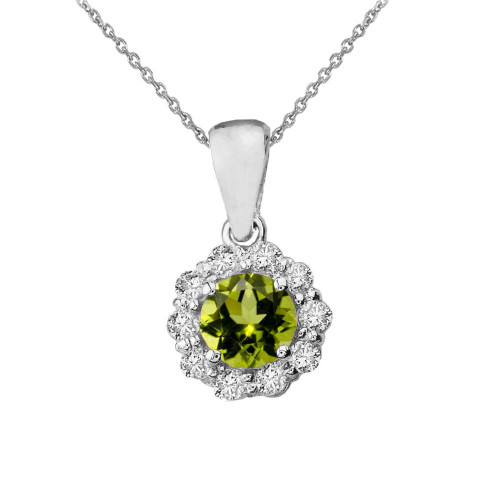 14k White Gold Dainty Floral Diamond Center Stone Peridot Pendant Necklace