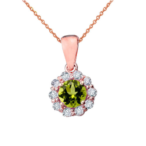 14k Rose Gold Dainty Floral Diamond Center Stone Peridot Pendant Necklace