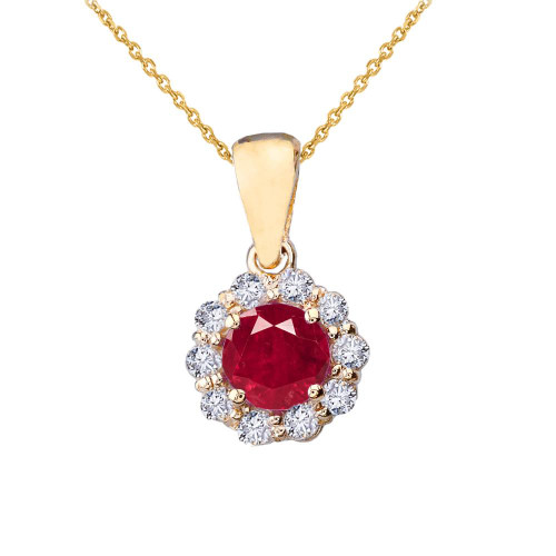 14k Yellow Gold Dainty Floral Diamond Center Stone  Ruby Pendant Necklace