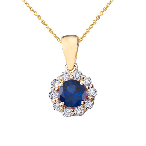 14k Yellow Gold Dainty Floral Diamond Center Stone Sapphire Pendant Necklace