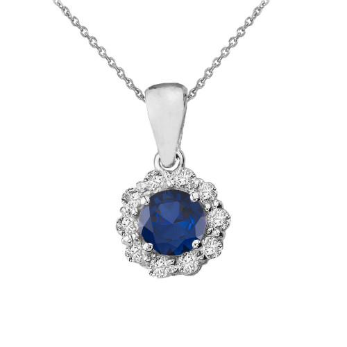 14k White Gold Dainty Floral Diamond Center Stone Sapphire Pendant Necklace