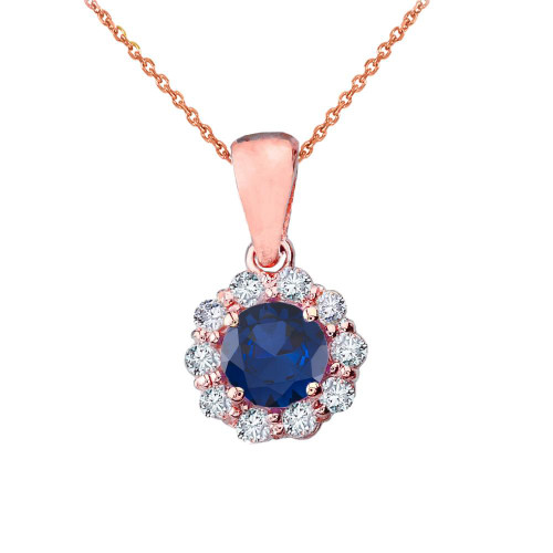 14k Rose Gold Dainty Floral Diamond Center Stone Sapphire Pendant Necklace