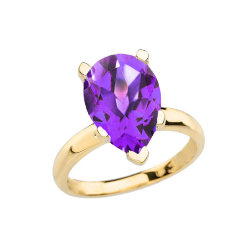 Yellow Gold Pear Shape Amethyst Engagement/Proposal Solitaire Ring