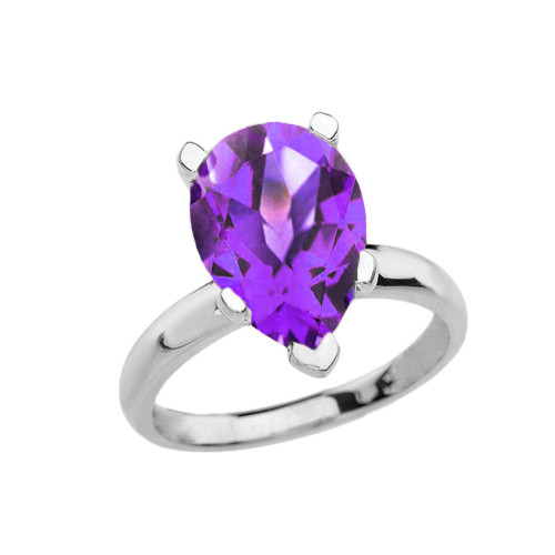 White Gold Pear Shape Amethyst Engagement/Proposal Solitaire Ring