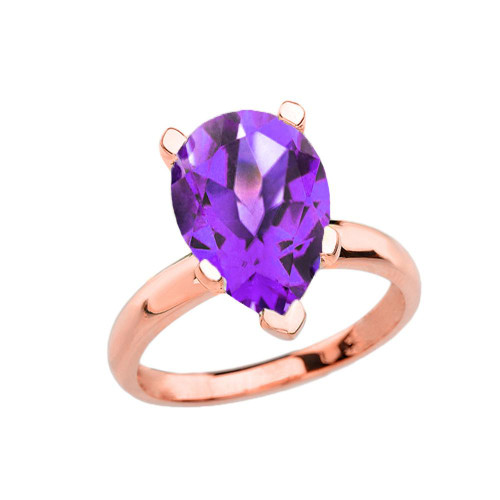 Rose Gold Pear Shape Amethyst Engagement/Proposal Solitaire Ring