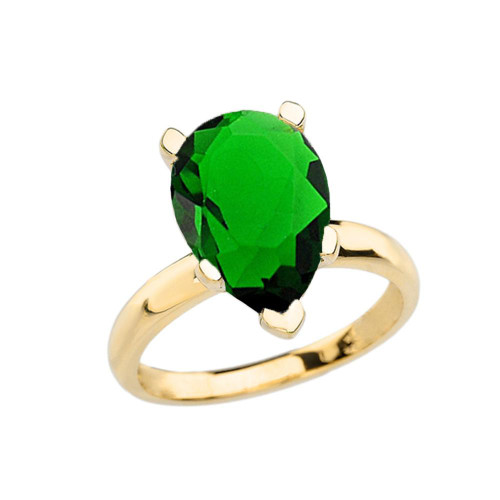 Yellow Gold Pear Shape Emerald (LCE) Engagement/Proposal Solitaire Ring