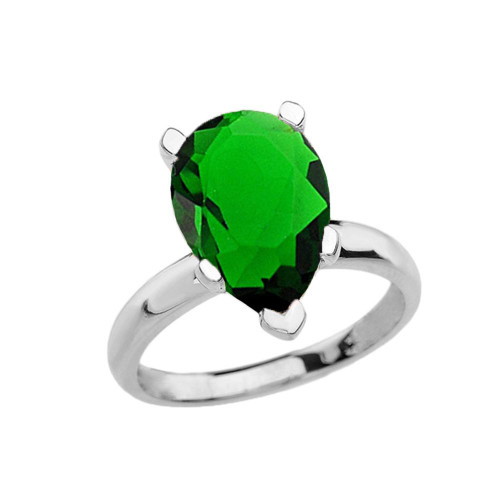 White Gold Pear Shape Emerald (LCE) Engagement/Proposal Solitaire Ring