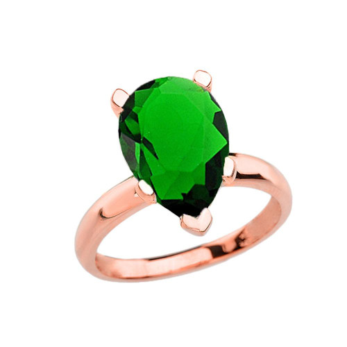 Rose Gold Pear Shape Emerald (LCE) Engagement/Proposal Solitaire Ring