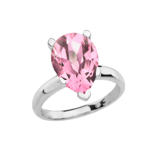 White Gold Pear Shape Pink CZ Engagement/Proposal Solitaire Ring