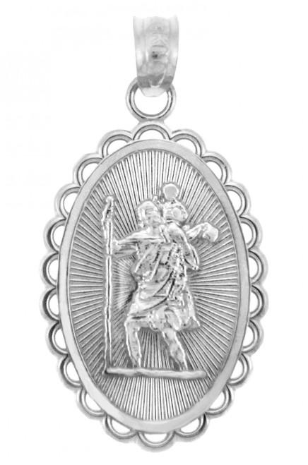 Gold Religious Pendants - The Saint Christopher White Gold Pendant