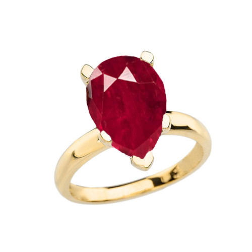 Yellow Gold Pear Shape Ruby (LCR) Engagement/Proposal Solitaire Ring
