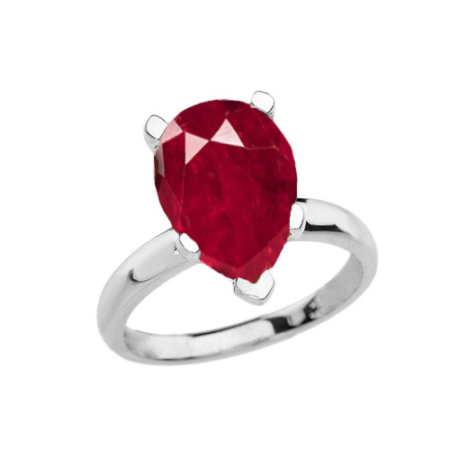 White Gold Pear Shape Ruby (LCR) Engagement/Proposal Solitaire Ring