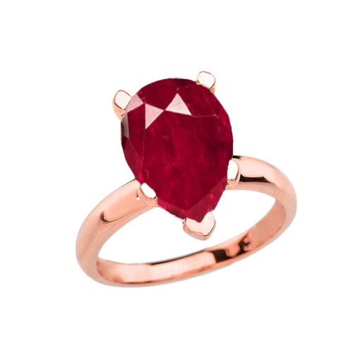 Rose Gold Pear Shape Ruby (LCR) Engagement/Proposal Solitaire Ring