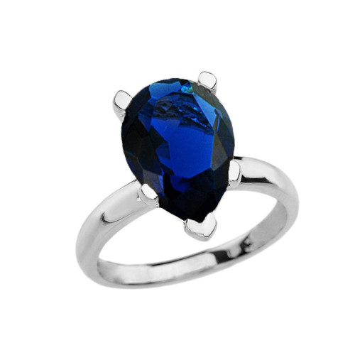 White Gold Pear Shape Sapphire (LCS) Engagement/Proposal Solitaire Ring