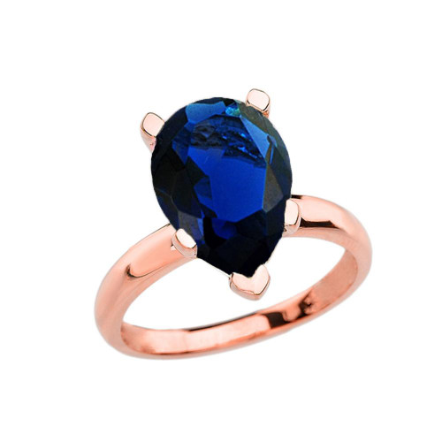 Rose Gold Pear Shape Sapphire (LCS) Engagement/Proposal Solitaire Ring
