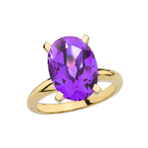 Yellow Gold Oval Shape Amethyst Engagement/Proposal Solitaire Ring