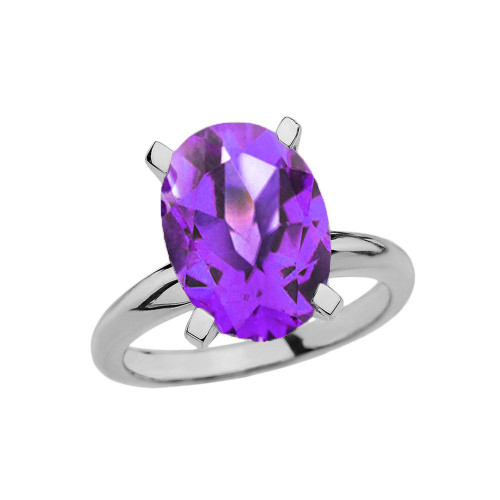 White Gold Oval Shape Amethyst Engagement/Proposal Solitaire Ring