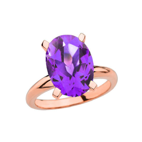Rose Gold Oval Shape Amethyst Engagement/Proposal Solitaire Ring