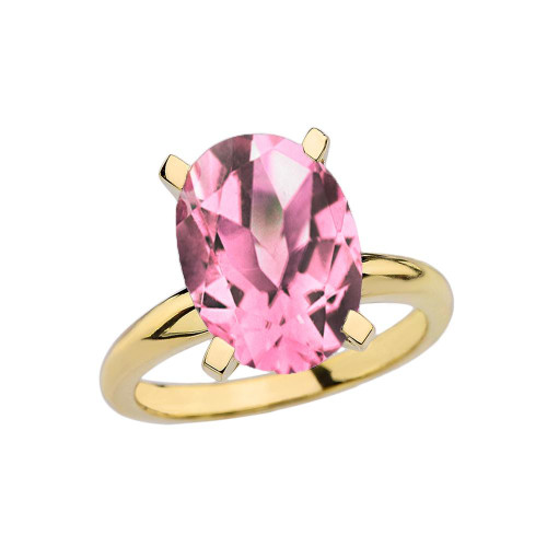 Yellow Gold Oval Shape Pink CZ Engagement/Proposal Solitaire Ring