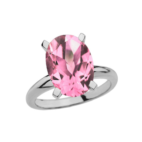 White Gold Oval Shape Pink CZ Engagement/Proposal Solitaire Ring