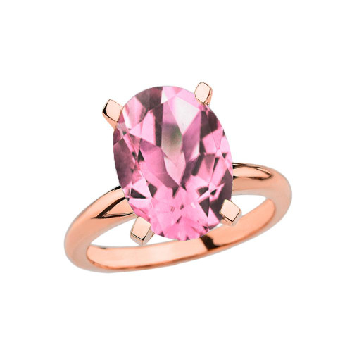 Rose Gold Oval Shape Pink CZ Engagement/Proposal Solitaire Ring