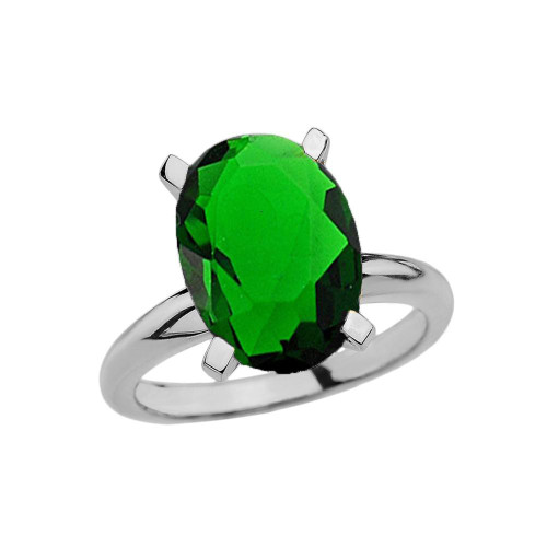White Gold Oval Shape Emerald (LCE) Engagement/Proposal Solitaire Ring