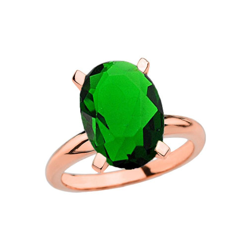 Rose Gold Oval Shape Emerald (LCE) Engagement/Proposal Solitaire Ring