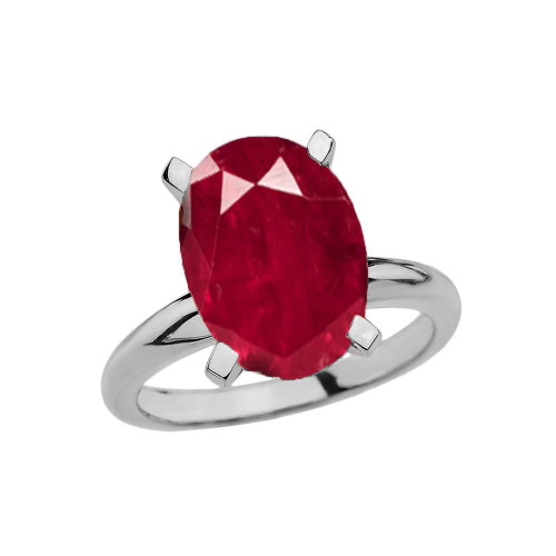 White Gold Oval Shape Ruby (LCR) Engagement/Proposal Solitaire Ring