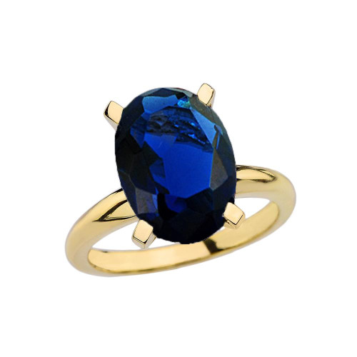 Yellow Gold Oval Shape Sapphire (LCS) Engagement/Proposal Solitaire Ring