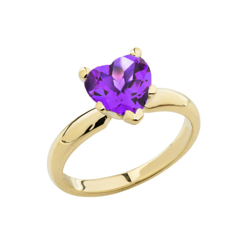 Yellow Gold Solitaire Amethyst (LCAM) Heart Engagement Ring