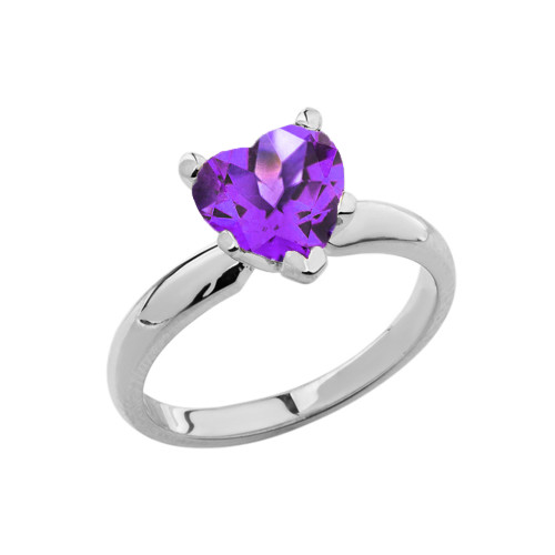 White Gold Solitaire Amethyst (LCAM) Heart Engagement Ring