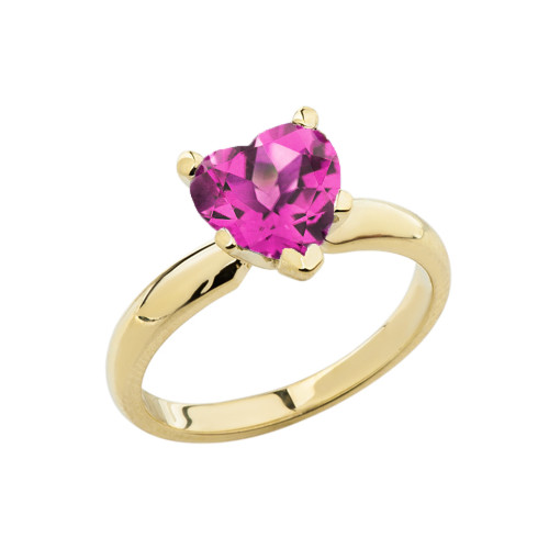 Yellow Gold Solitaire Alexandrite (LCAL) Heart Engagement Ring