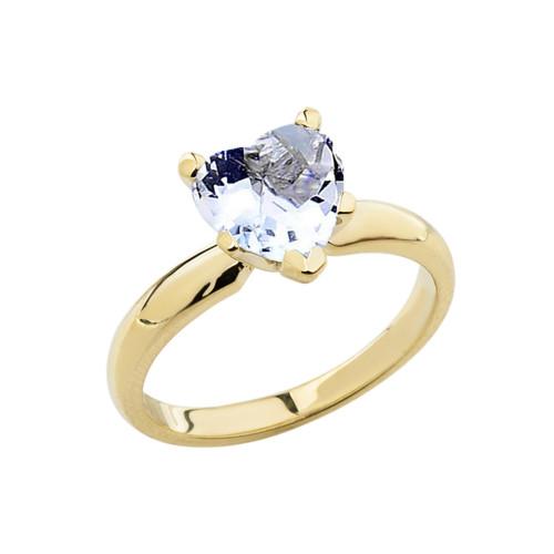 Yellow Gold Solitaire Aquamarine (LCAQ) Heart Engagement Ring
