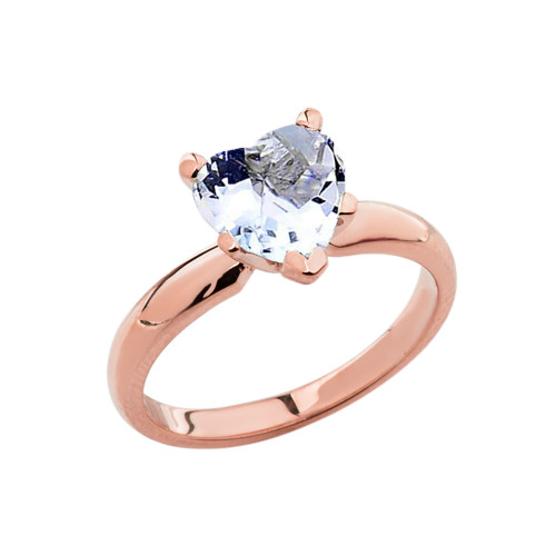 Rose Gold Solitaire Aquamarine (LCAQ) Heart Engagement Ring
