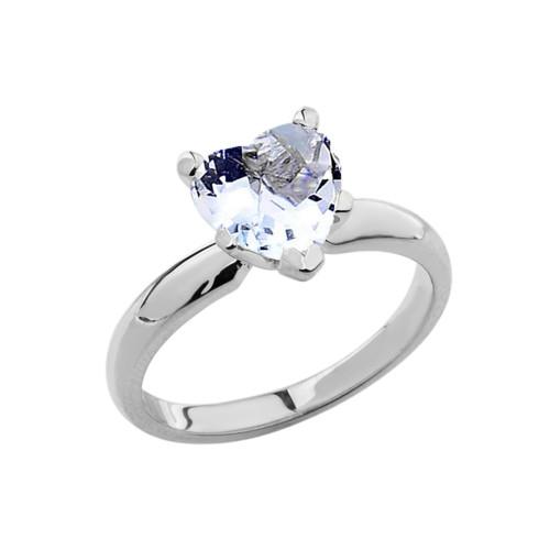 White Gold Solitaire Aquamarine (LCAQ) Heart Engagement Ring