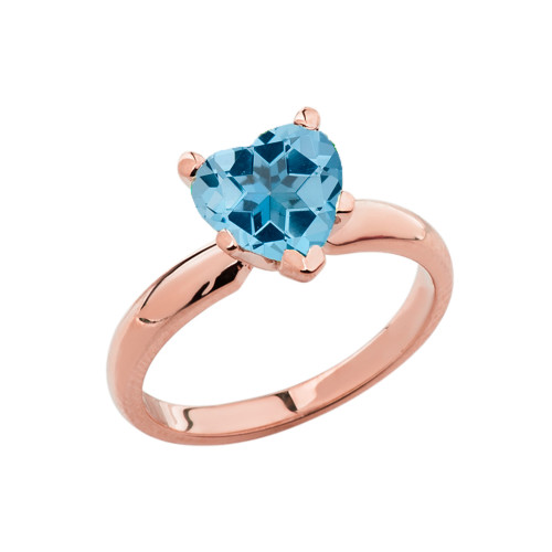Rose Gold Solitaire Blue Topaz (LCBT) Heart Engagement Ring