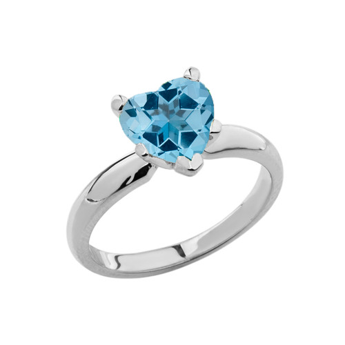 White Gold Solitaire Blue Topaz (LCBT) Heart Engagement Ring