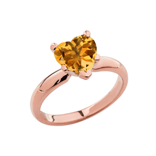 Rose Gold Solitaire Citrine (LCC) Heart Engagement Ring