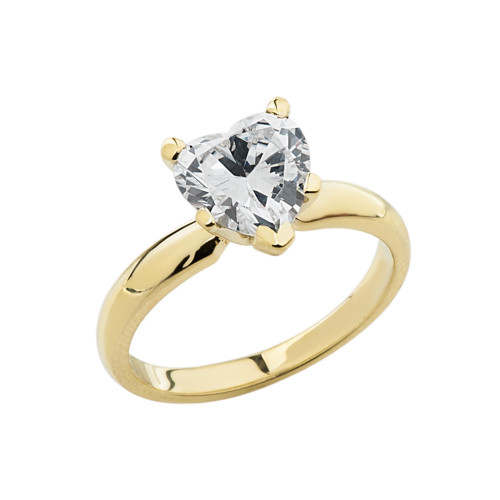 Yellow Gold Solitaire CZ Heart Engagement Ring