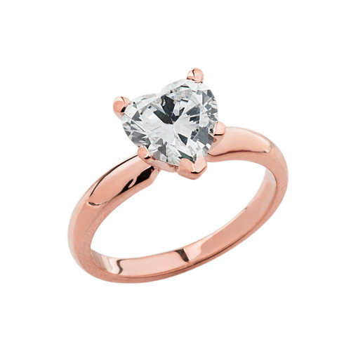 Rose Gold Solitaire CZ Heart Engagement Ring