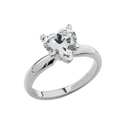 White Gold Solitaire CZ Heart Engagement Ring
